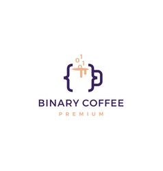 Code binary coffee cafe mug glass logo icon vector