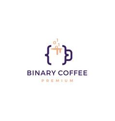 code binary coffee cafe mug glass logo icon vector image