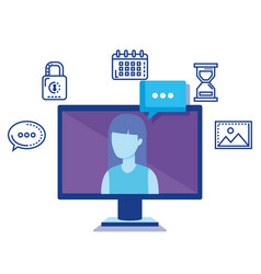 computer with social media icons vector image