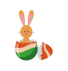 cute easter bunny broken egg adorable design vector image