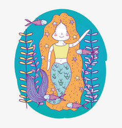 cute mermaid underwater with plants and fishes vector image