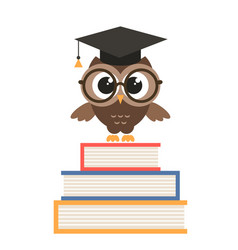 Cute owl with graduation cap and books vector