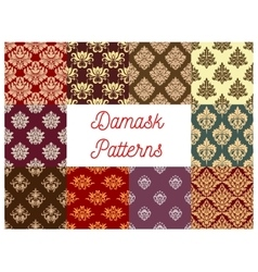 damask floral ornament seamless pattern set vector image