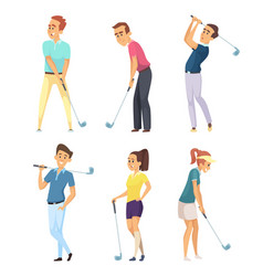 Different golf players isolate on white background vector