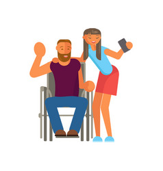 disabled man makes selfie vector image