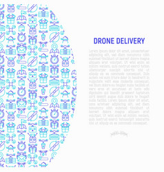 drone delivery concept with thin line icons vector image