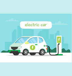 electric car charging with city background and vector image