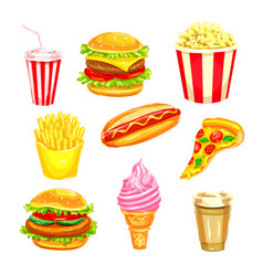 Fast food and drinks watercolor set vector