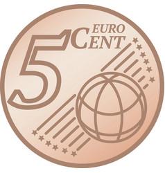 Five euro cent coin vector