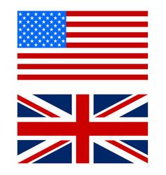 flags the us and uk white background vector image