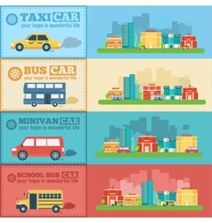 Flat city cars infographic banners traffic vector