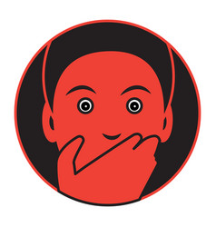 flat designed icon of a frightened man vector image
