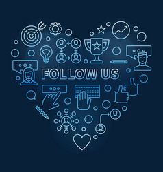 Follow us concept thin line blue heart vector