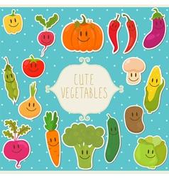 Frame cute vegetables healthy food vector image