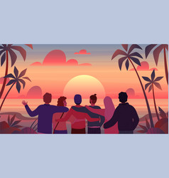 friends at sunset cartoon men and women vector image