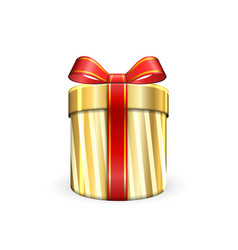 Gift box 3d red ribbon bow isolated white vector