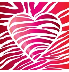 Glossy red heart decorated with glare strips vector