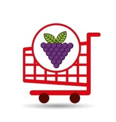 Grape cart shopping graphic vector