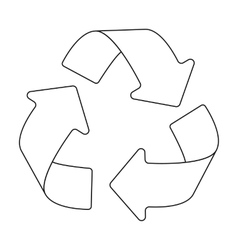 Green recycling sign icon in outline style vector image