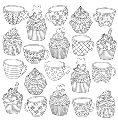 Hand drawn cup cupcake for vector