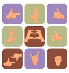 Hands deaf-mute gestures human pointing arm people vector