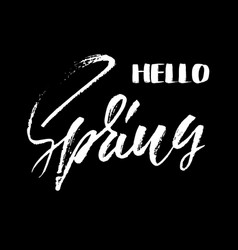 handwritten lettering hello spring hand drawn vector image
