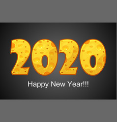 happy new year 2020 textured cheese vector image