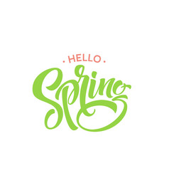 Hello spring phrase lettering hand drawn vector
