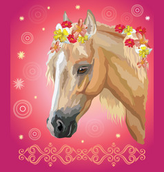 Horse portrait with flowers9 vector