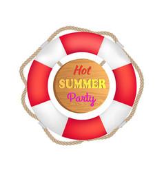 hot summer party lifebuoy vector image