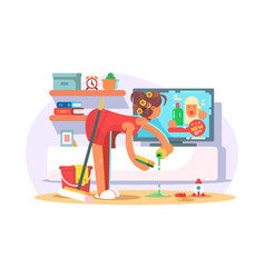 housewife cleaning house vector image