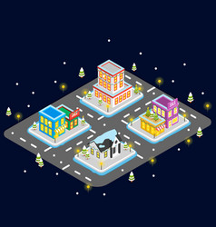 Isometric christmas town at night vector