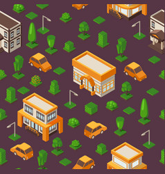 Isometric seamless pattern vector