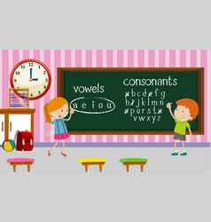 Kids studying english in classroom vector