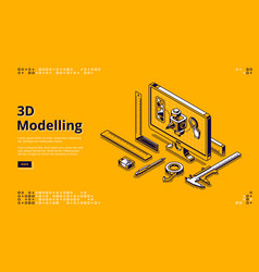 Landing page 3d modelling vector