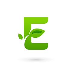 Letter E eco leaves logo icon design template vector