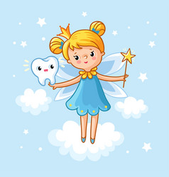 Lovely fairy with a tooth and a magic wand vector