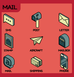 mail color outline isometric icons vector image
