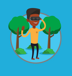 Man wearing virtual reality headset in the park vector