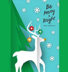 merry christmas card paper cut craft reindeer vector image