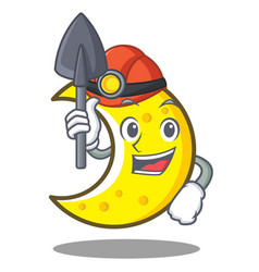 miner crescent moon character cartoon vector image