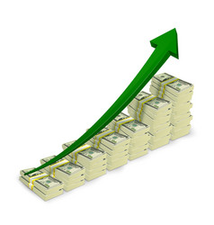 Money banknotes stacks rising graph vector image