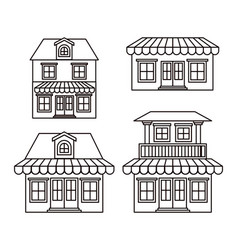 Monochrome background with set of houses with vector