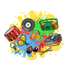 musical objects on colored background vector image