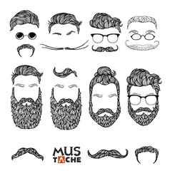 Mustache Beard and Hair Style Set Hipster vector image