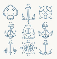 nautical thin line emblem set vector image