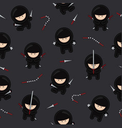 ninja characters seamless pattern on black vector image
