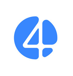 number 4 four font logo blue icon vector image