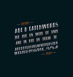 Ornate italic sans serif font and catchwords vector