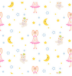 Pajamas pattern with tilda bunny bear plush toy vector